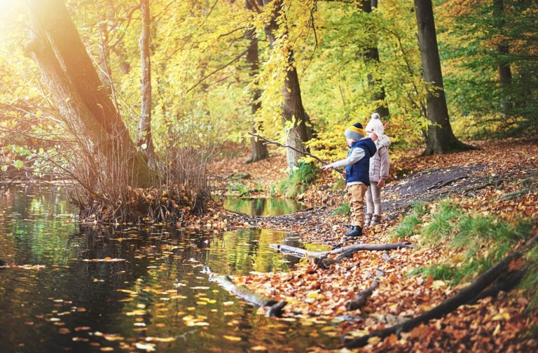 Two little children looking at autumn pond